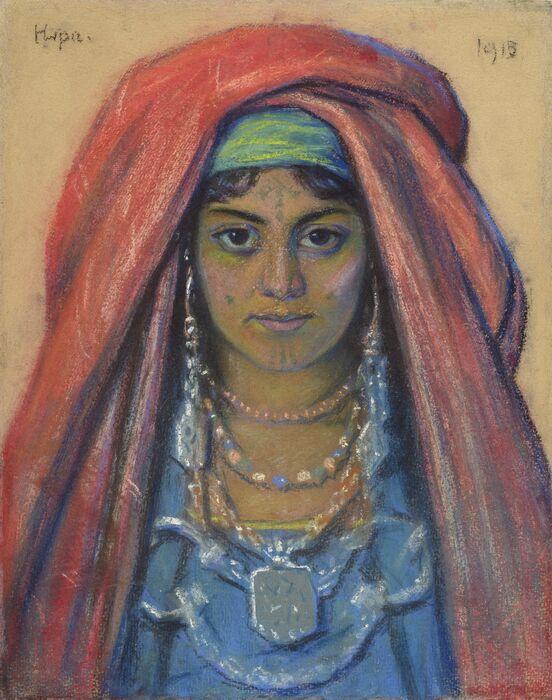 Ants Laikmaan pastellityö Beduiinlanna portree