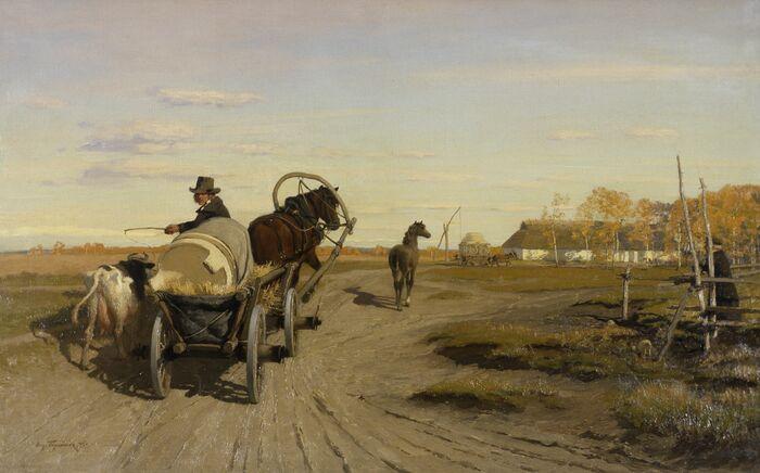Oskar Hoffmannin maalaus Teel laadale