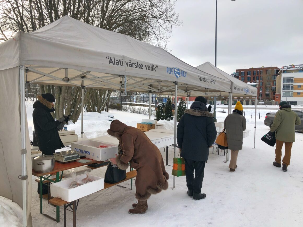Myyntikoju Tallinnan kalatorilla